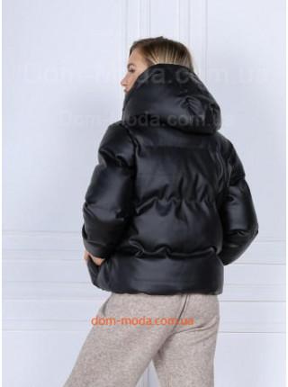 Кожаная дутая куртка
