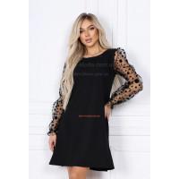 Стильне чорне плаття з рукавом сіткою