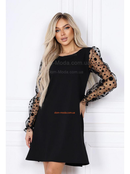 Стильное черное платье с рукавом сеткой