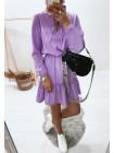 Женское платье в горошек с воланом