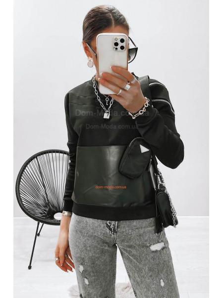 Свитшот с кожаными вставками