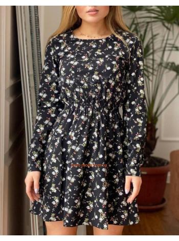 Женское короткое платье с длинным рукавом в цветочный принт