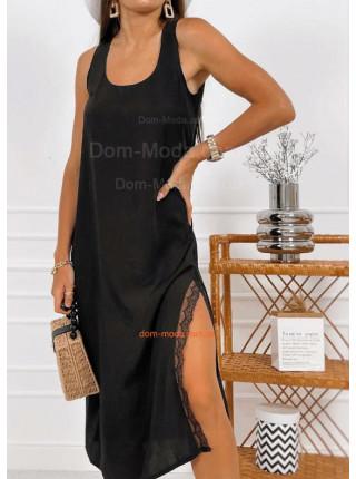 Літнє плаття з штапеля з мереживом
