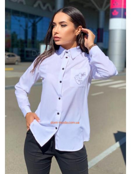 Біла сорочка з принтом жіноча
