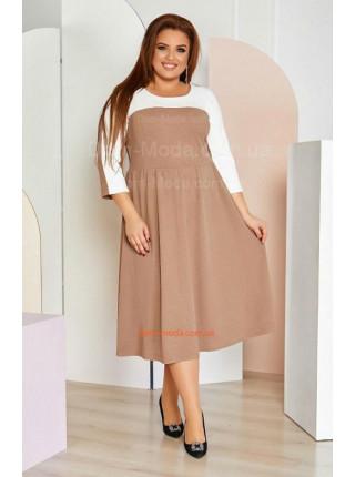 Двухцветное платье с завышенной талией для полных