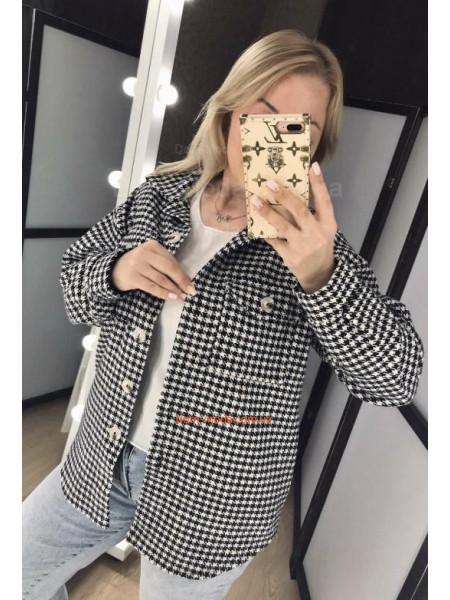 Кашемировая рубашка с принтом гусиная лапка