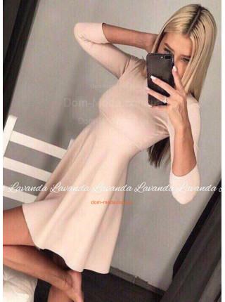 Модное трикотажное платье с рукавом