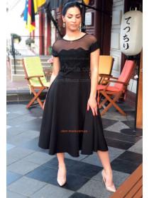 Вечернее черное платье миди