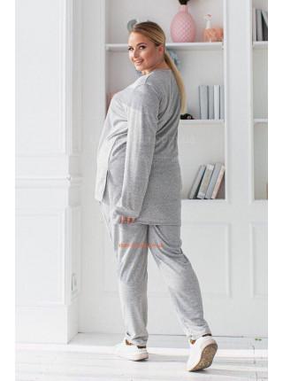 Серый трикотажный спортивный костюм большого размера