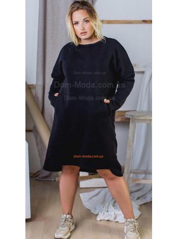 Теплое черное платье большого размера