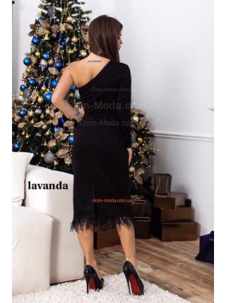 Модне вечірнє плаття із пір'ям