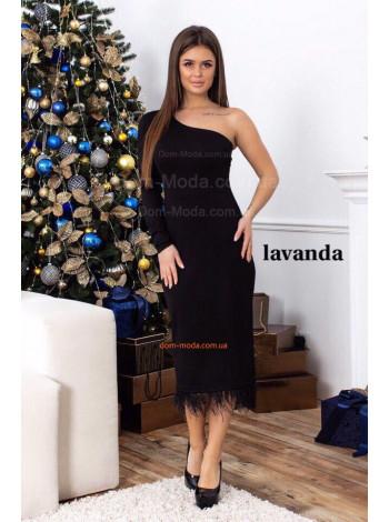 Модное вечернее платье с перьями