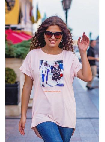 Стильна жіноча асиметрична футболка для повних