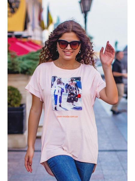 Стильная женская асимметричная футболка для полных