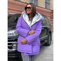 Жіноча двостороння зимова куртка з капюшоном