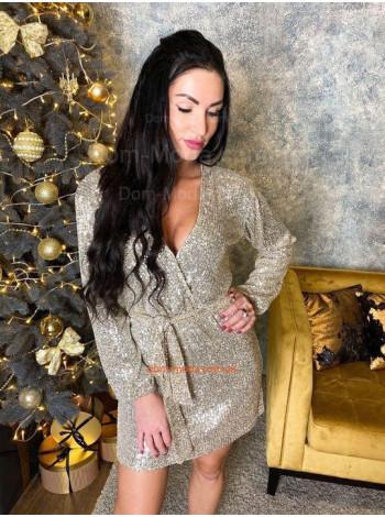 Жіноча вечірня сукня з глибоким декольте в пайетку