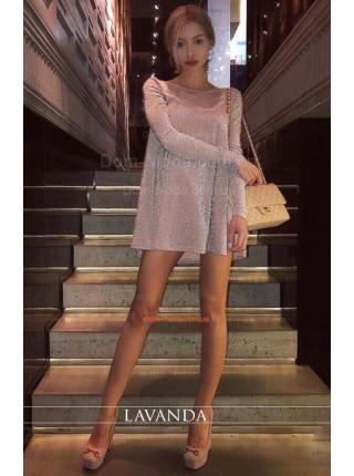 Вечернее мини платье с длинным рукавом