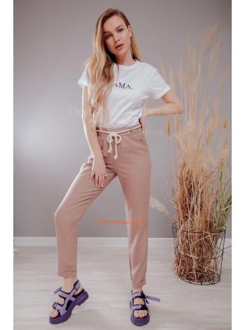 Льняные летние брюки с поясом