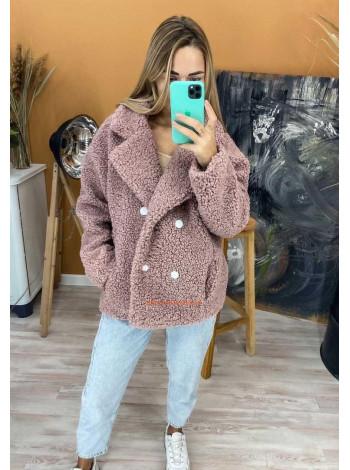 Короткая женская шуба пальто из искусственной овчины