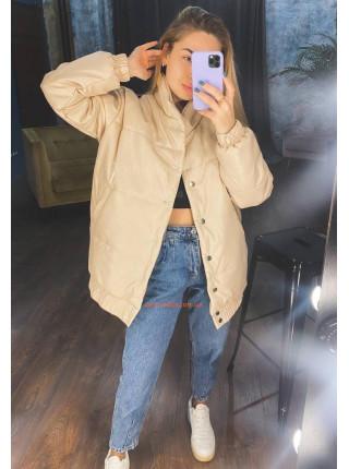 Тепла шкіряна куртка жіноча