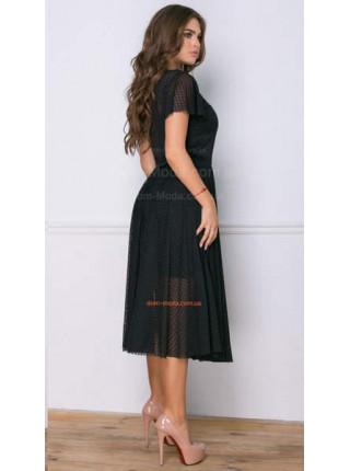 Жіноча вечірня сукня міді із невеликим рукавом