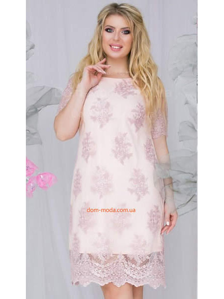 Вечірня сукня із вишивкою для повних дівчат