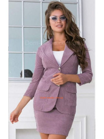 Стильный вельветовый костюм с юбкой