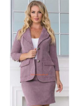 Женский модный вельветовый костюм с юбкой для полных