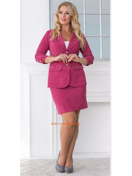 Жіночий модний вельветовий костюм зі спідницею для повних