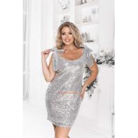 Короткое вечернее платье без рукав в пайетку большого размера