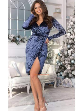 Женское вечернее бархатное платье с декольте