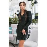 Нарядна жіноча велюрова сукня з паєткою