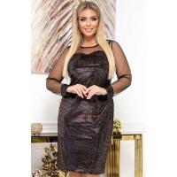 Вечернее велюровое платье с рукавом сетка