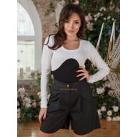 Женские кожаные шорты с высокой талией