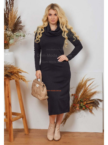 Стильное женское платье с воротником хомутом большого размера