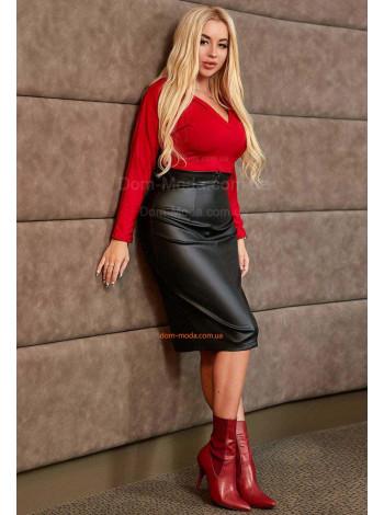 """Женская кожаная юбка большого размера """"Деловой стиль"""""""