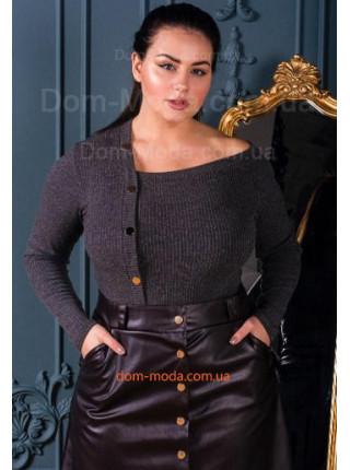 Жіноча однотонна кофта з трикотажу з довгим рукавом
