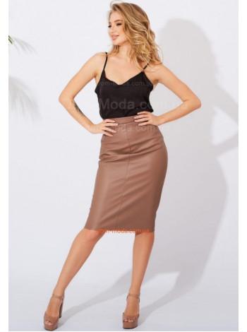 Кожаная юбка карандаш с высокой талией