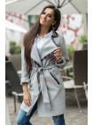 Красиве жіноче пальто сірого і чорного кольору