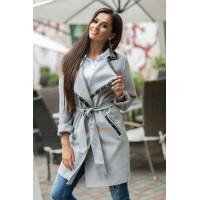 Красивое женское пальто серого и черного цвета