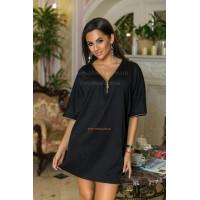 Черное платье туника с коротким рукавом
