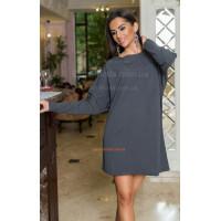 Женское платье туника серого цвета