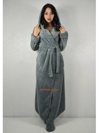 Махровый длинный халат с капюшоном