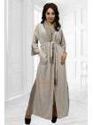 Длинный домашний халат из велюра с кружевом