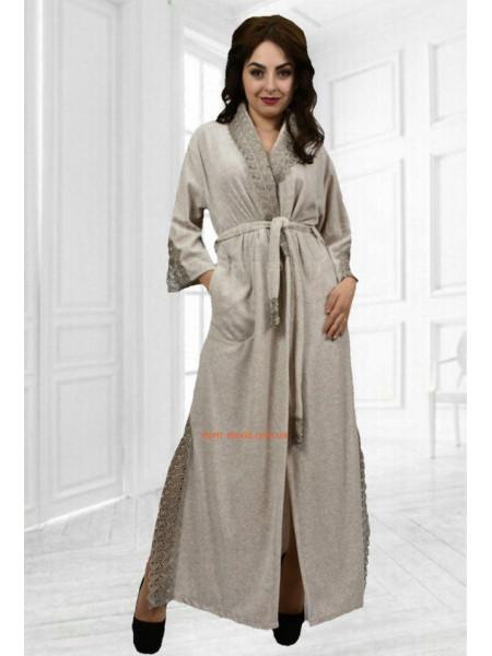 Довгий домашній халат з велюру з мереживом