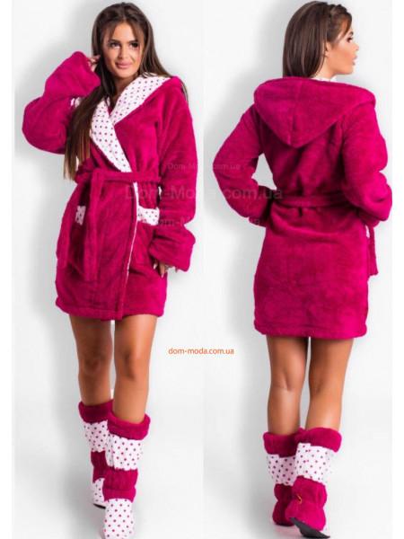 Женский махровый халат с капюшоном + сапожки