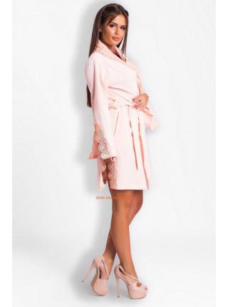 Короткий велюровий халат жіночий з мереживом