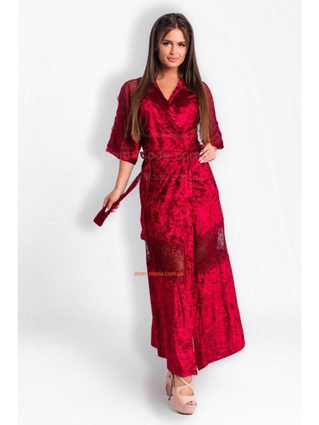 Красивый женский халат длинный из бархата