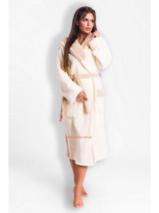 Довгий жіночий халат махровий з капюшоном