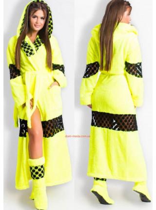 Довгий махровий халат жіночий з чобітками